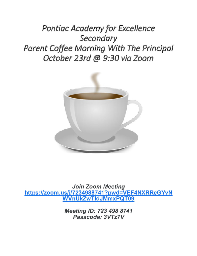 Secondary Parent Coffee October, 2020