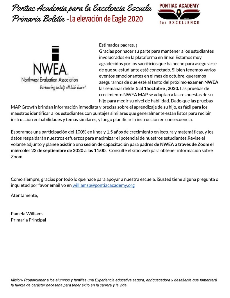 K-5 Parent Newsletter September 2020 NWEA Testing