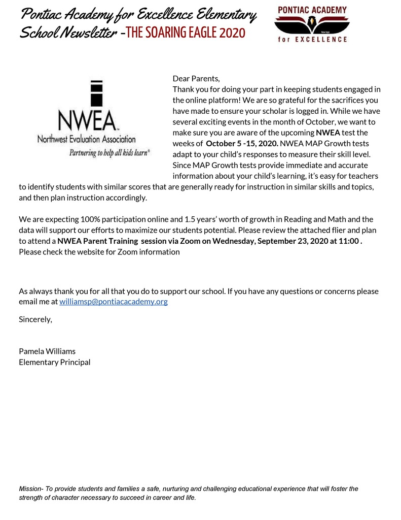 K-5 Parent Newsletter September 2020 NWEA Testing (Spanish)