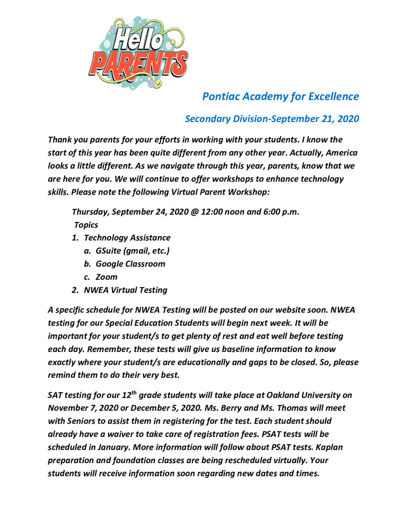 Secondary Parent Newsletter, September 21, 2020