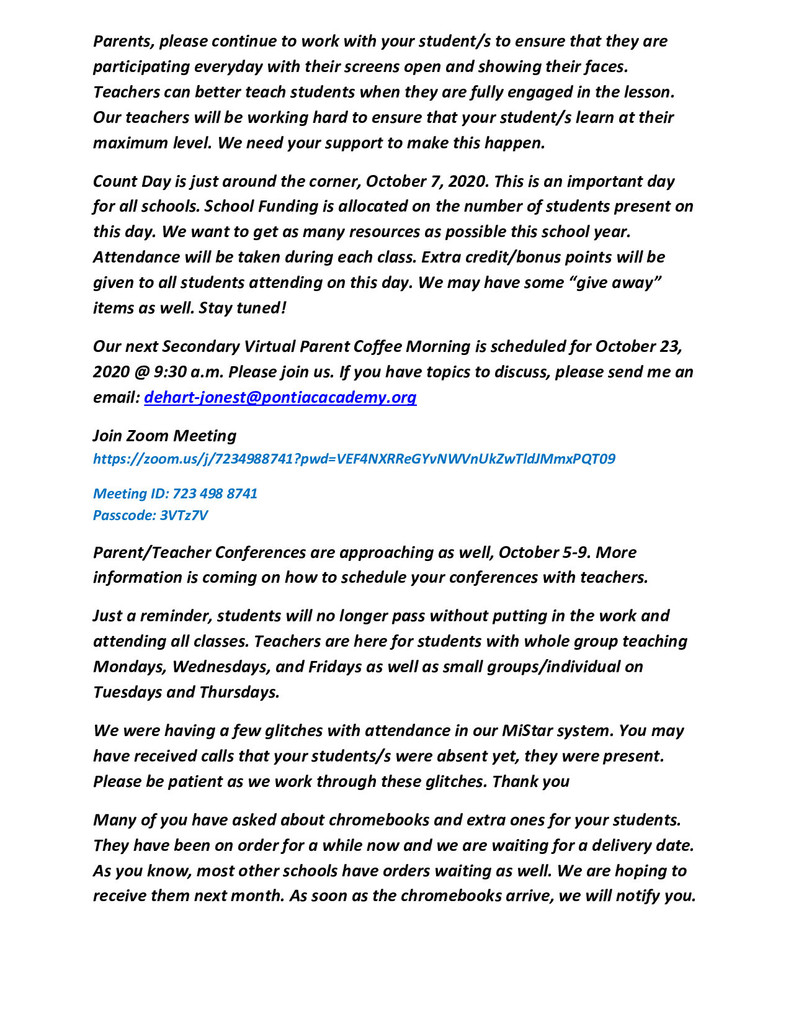 Secondary Parent Newsletter, September 21, 2020 2