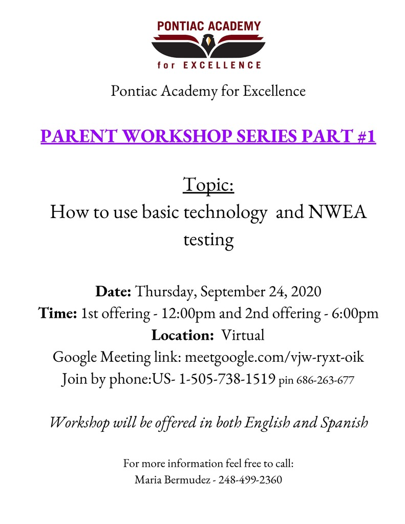 PARENT WORKSHOP SERIES PART #1